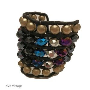 Antique Gold & Multi-Color Imitation Crystal Cuff